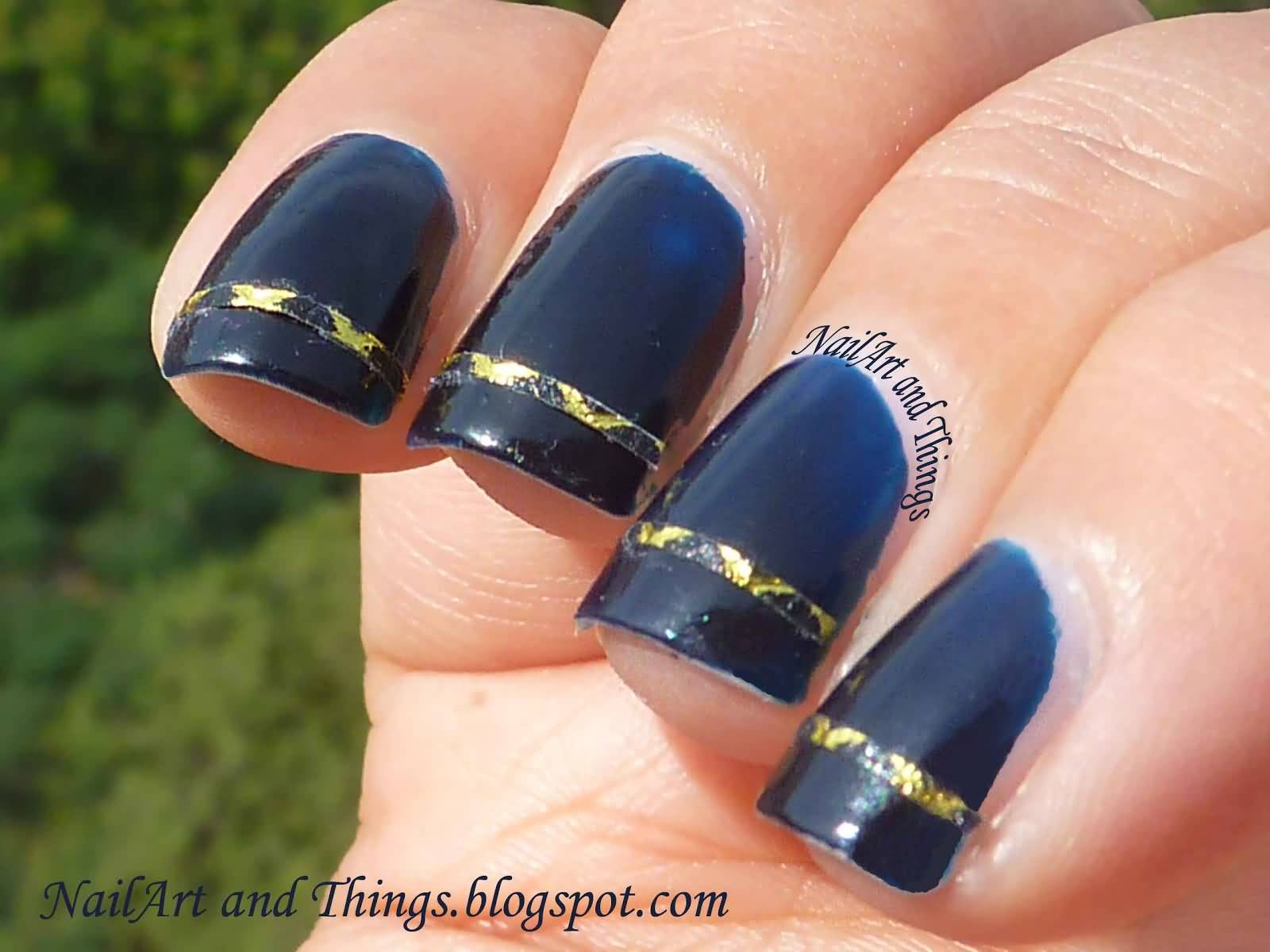 55 best striping tape nail art design ideas glossy black and gold striping tape nail art prinsesfo Gallery
