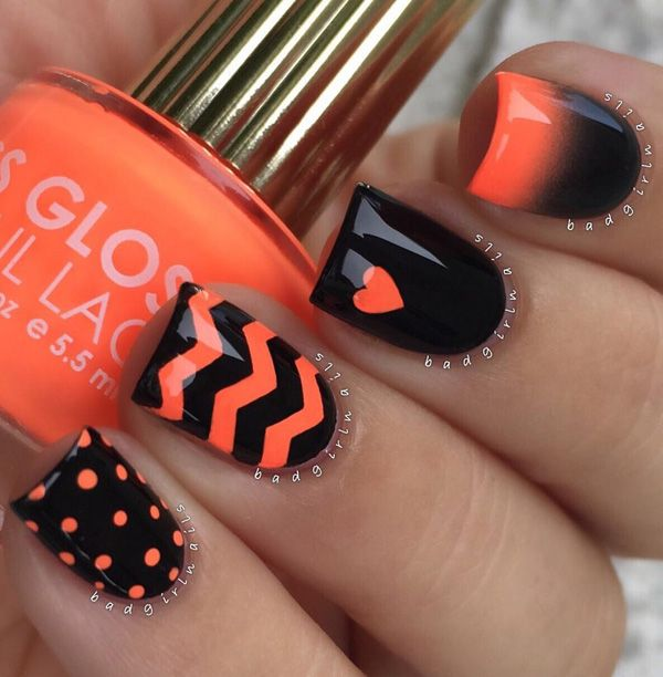 Glossy Black And Orange Nail Art Design