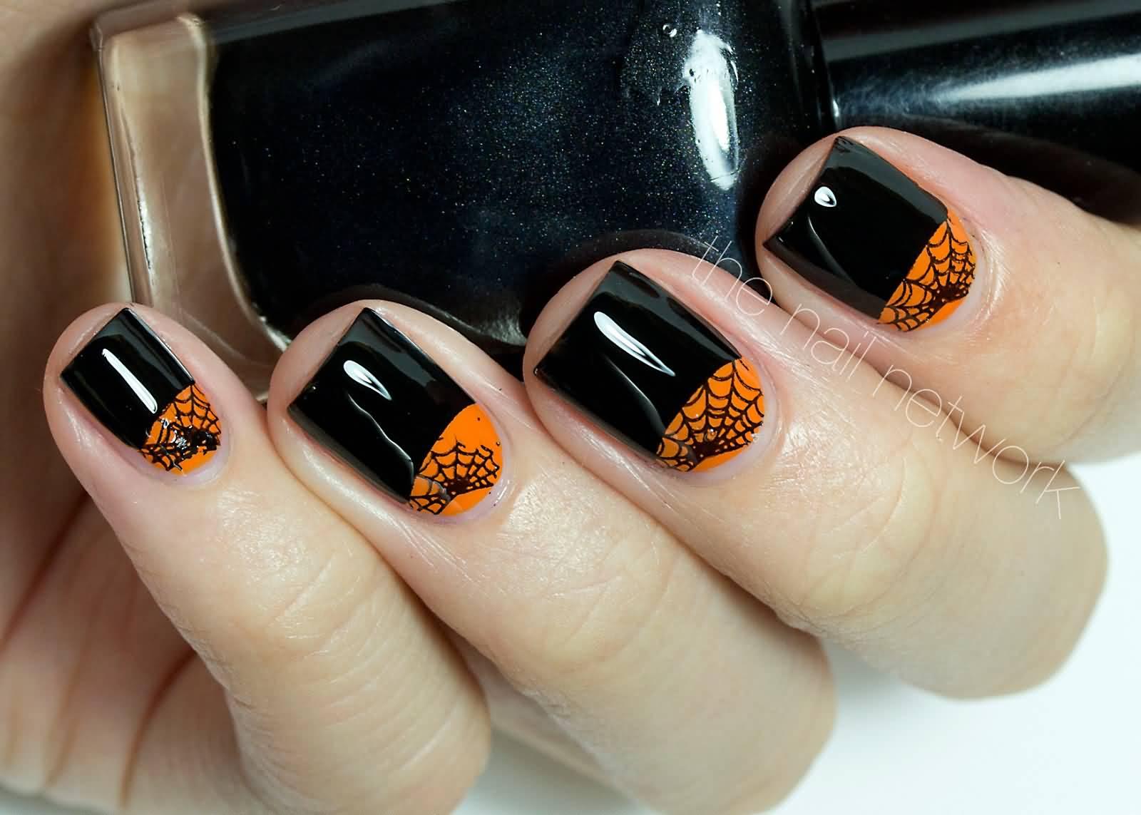Glossy Black With Orange Spider Web Half Moon Design Nail Art