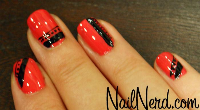Glossy Orange And Black Nail Art Design