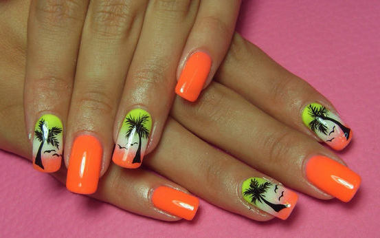 Glossy Orange And Palm Tree Design Nail Art