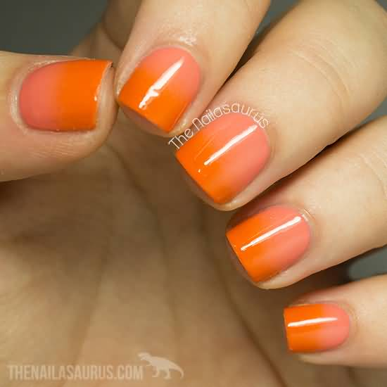 Glossy Orange Nail Art For Short Nails