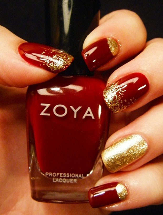 Red And Gold Nails With Diamonds