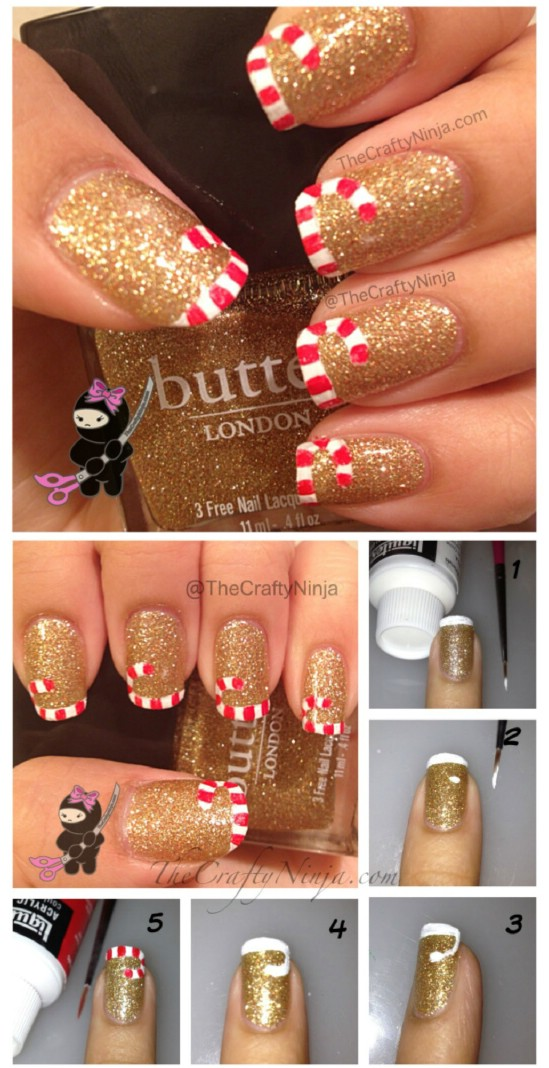55 most stylish christmas nail art gold glitter and candy cane tips christmas nail art solutioingenieria Image collections