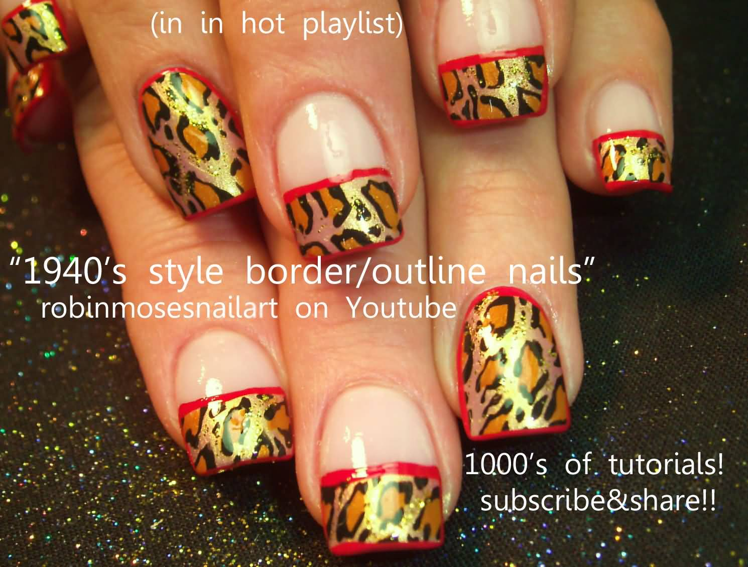 52 red and gold nail art designs for trendy girls gold leopard print nails with red border line design idea prinsesfo Image collections
