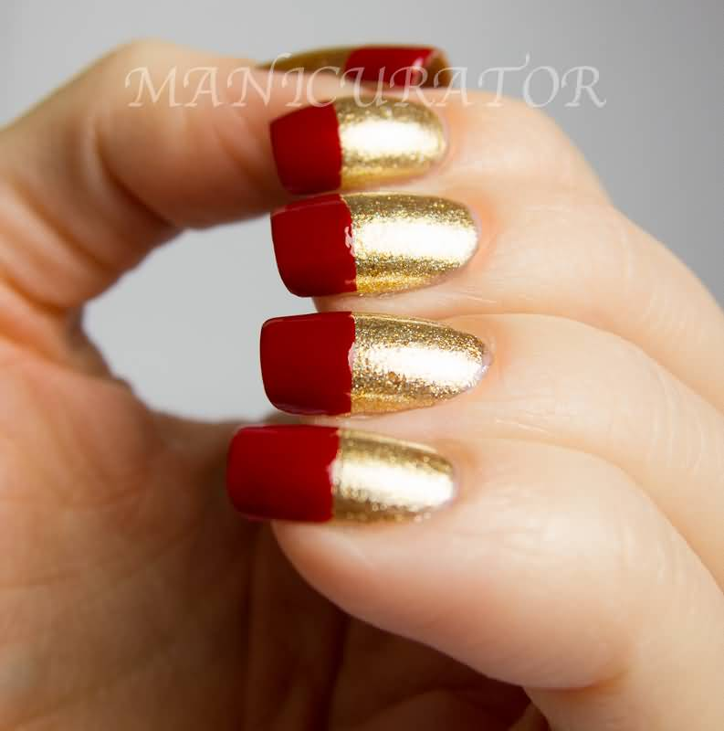 Red And Gold Nail Polish Designs Hession Hairdressing