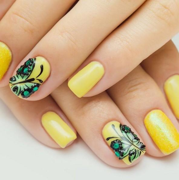 Green Butterfly Yellow Nail Art