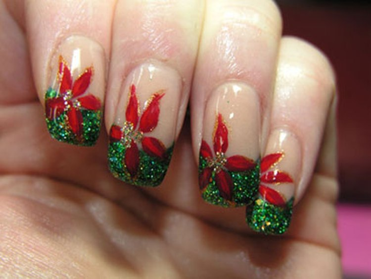Green Glitter And Red Flower Christmas Nail Art