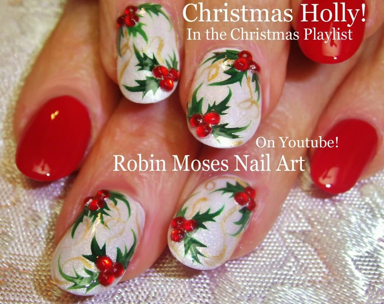 Green Leafs With Cherry Christmas Holly Nail Art Tutorial Video