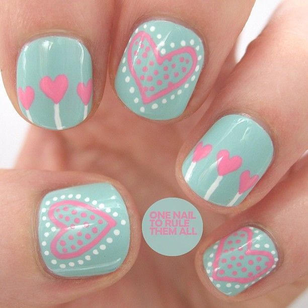 50 most stylish short nail art design ideas green nails with pink hearts short nail art prinsesfo Images