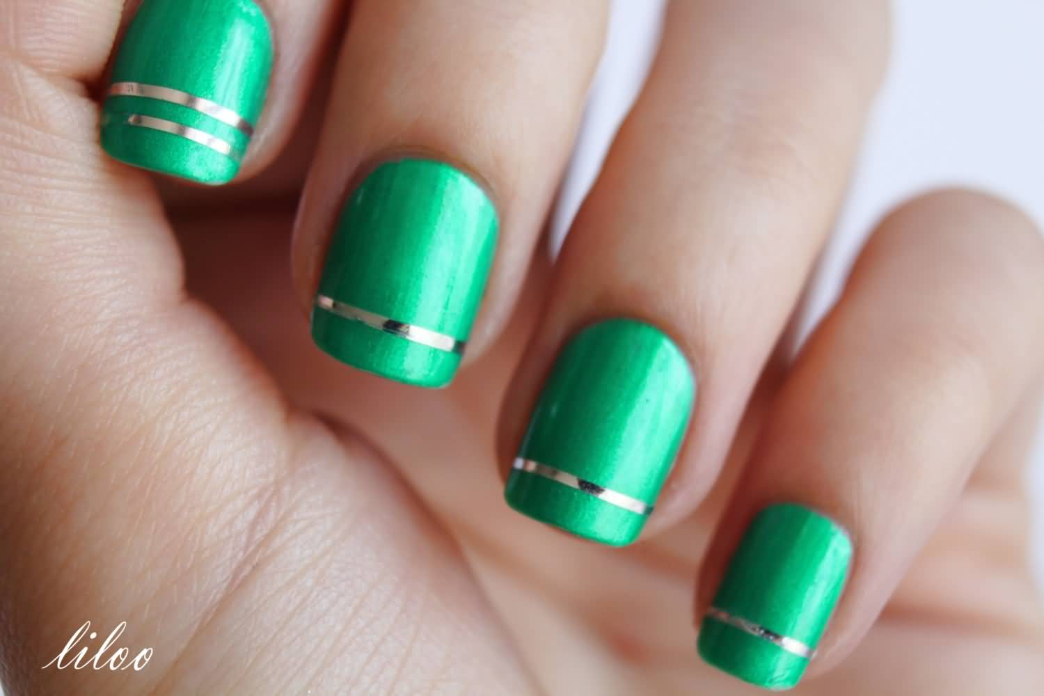 21 most beautiful striping tape nail art ideas for trendy girls green nails with silver metallic striping tape nail art prinsesfo Gallery