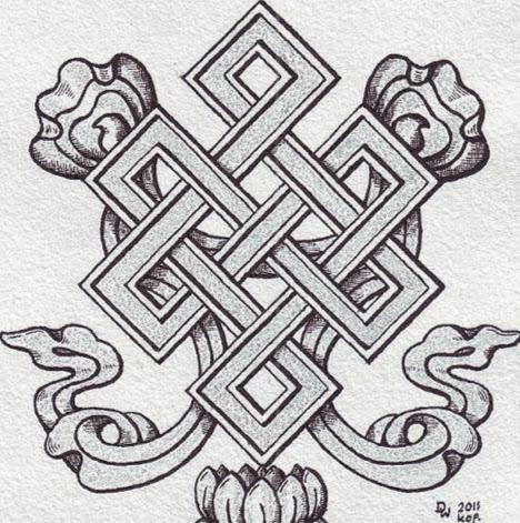 f1bd510b6 Grey Buddhist Endless Knot Tattoo Design