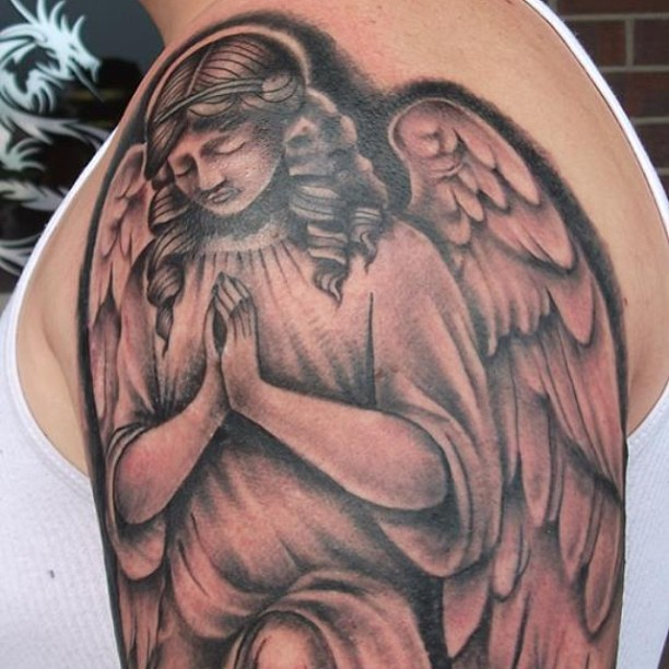 50 Cute Praying Angel Tattoos