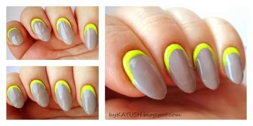 70 trendy neon yellow nail art design ideas grey nails with neon yellow reverse french tip nail art prinsesfo Gallery