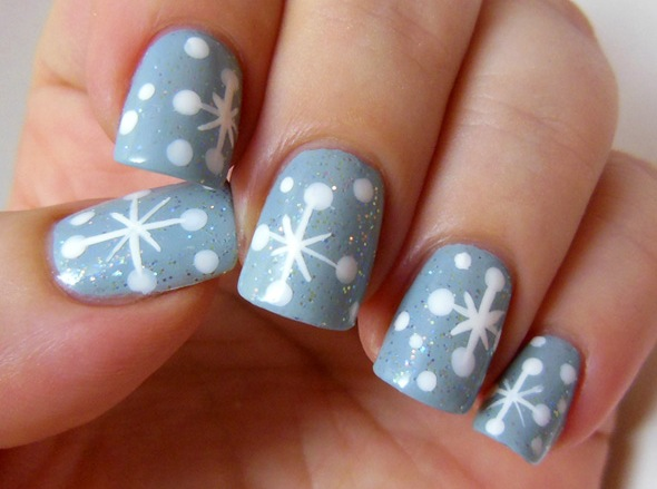 50 most stylish christmas nail art ideas grey nails with white snowflakes design christmas nail art prinsesfo Image collections