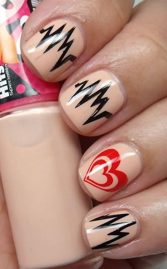 Heart Beat Design On Peach Nails Short Nails Art Design