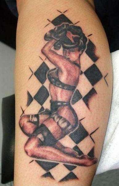 Hot Rod Pin Up Girl Tattoo On Leg