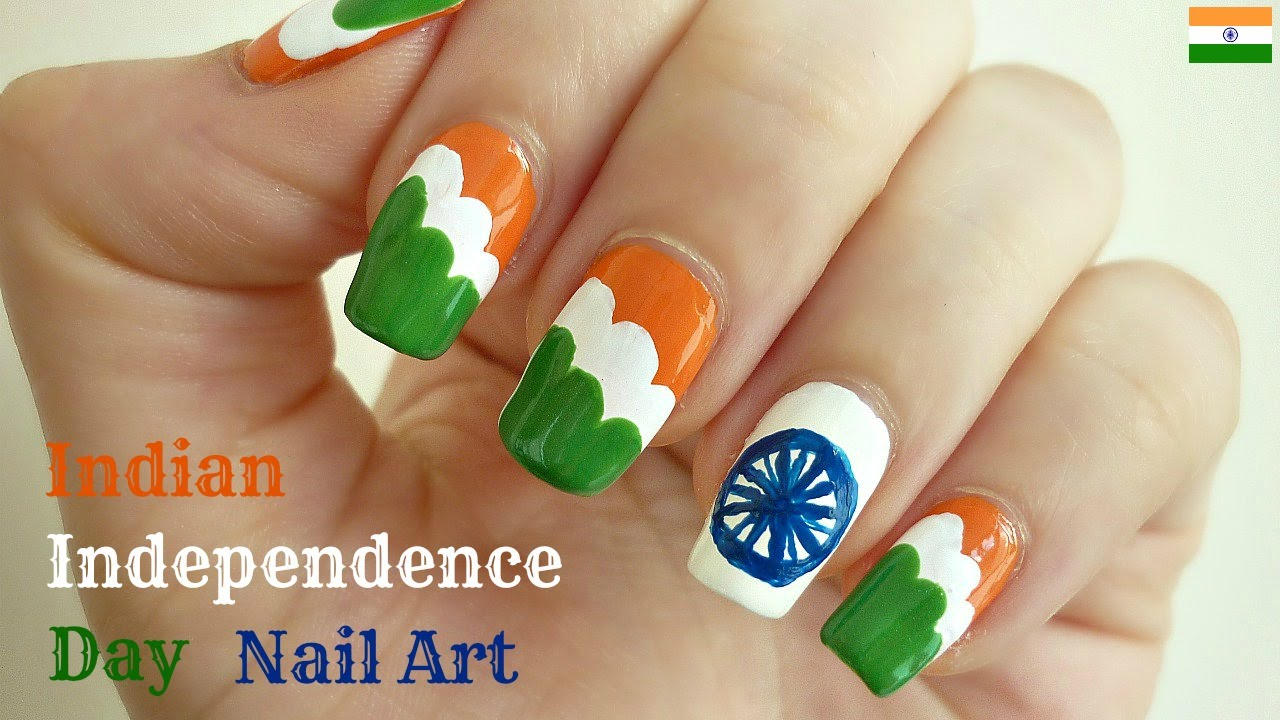 Indian independence day flag nail art with tutorial video prinsesfo Gallery