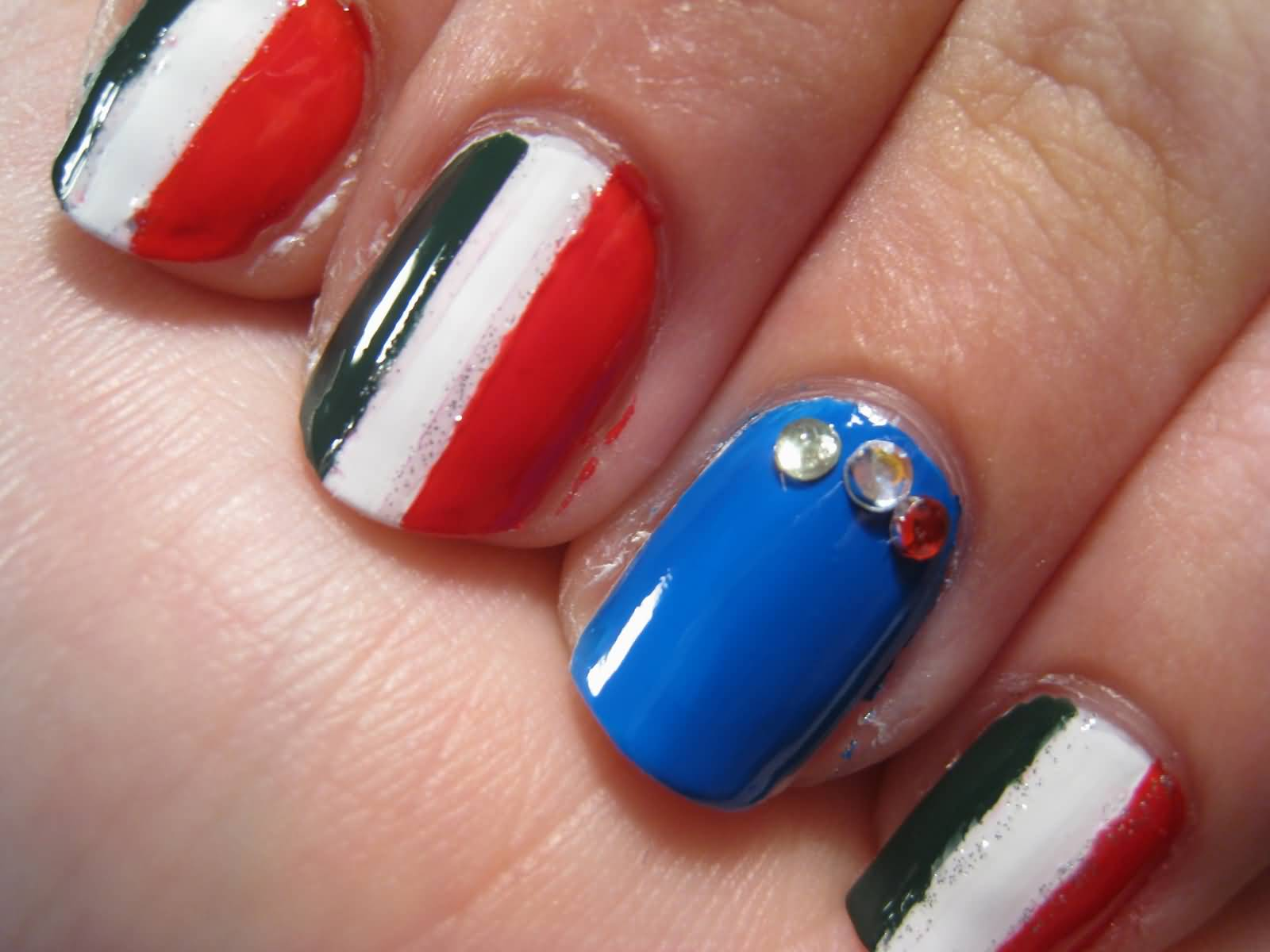Italian Flag Nail Art And Rhinestones With Tutorial Video