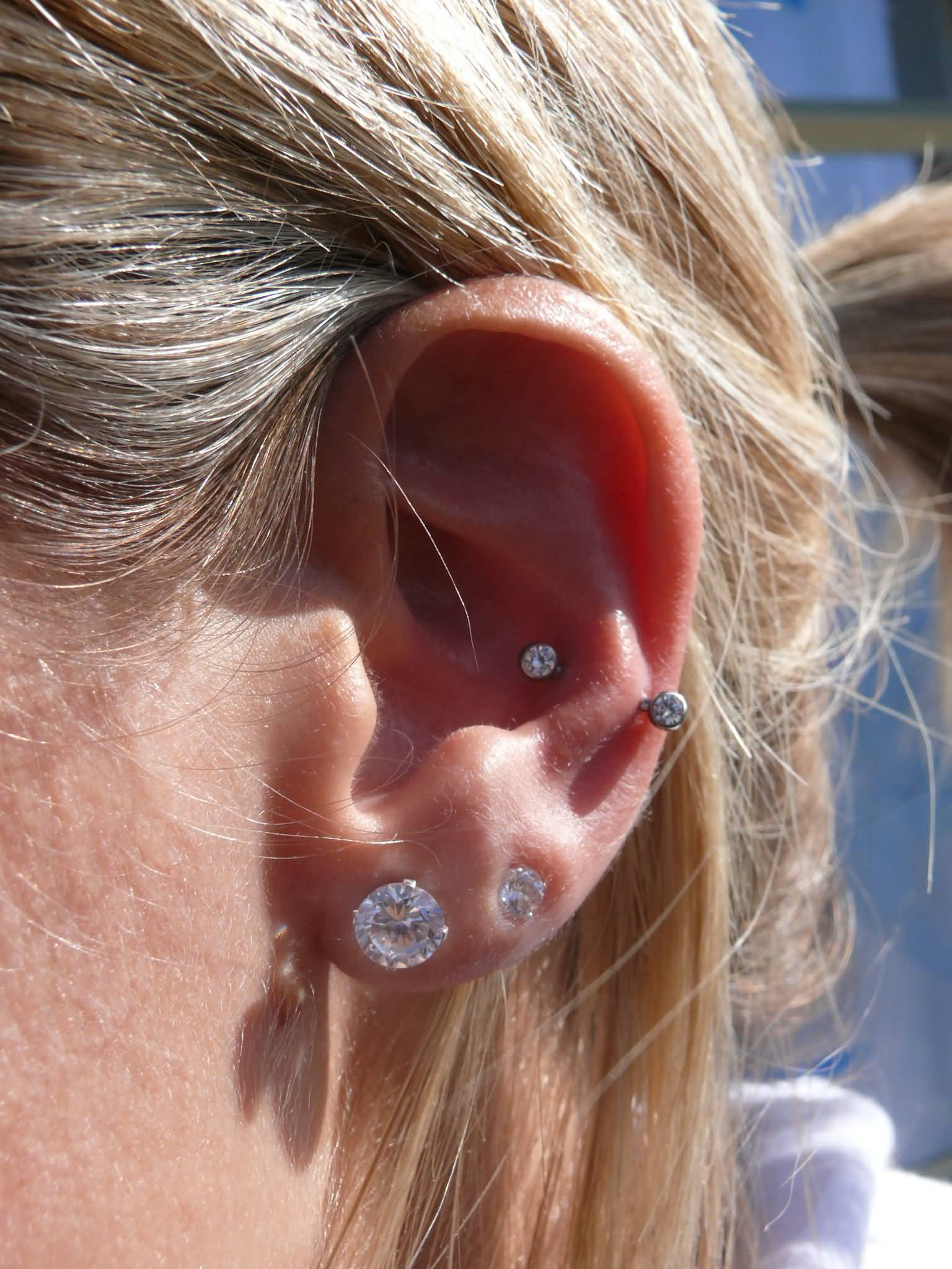 Rook And Snug Piercing With Green Barbell