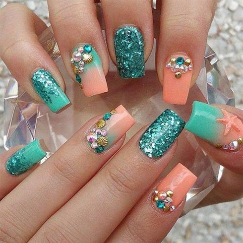Light Orange And Blue Glitter Rhinestones Design Nail Art