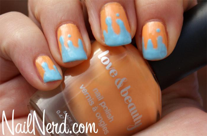 Light Orange And Blue Melted Tip Design Nail Art