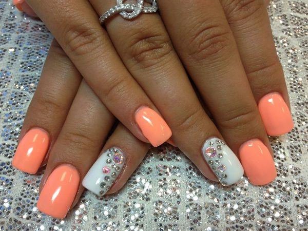 Light Orange And White Rhinestones Design Nail Art