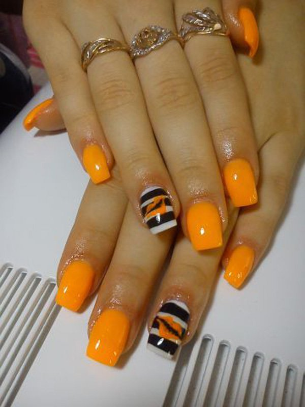 Light Orange Inspired Nails With Black And White Stripes Design Nail Art