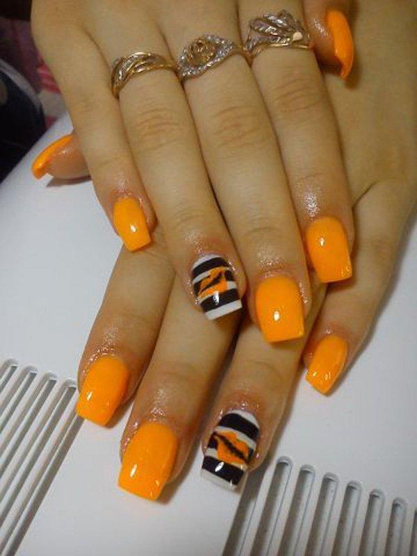 Light Orange Inspired Nails With Black And White Stripes Design Nail Art