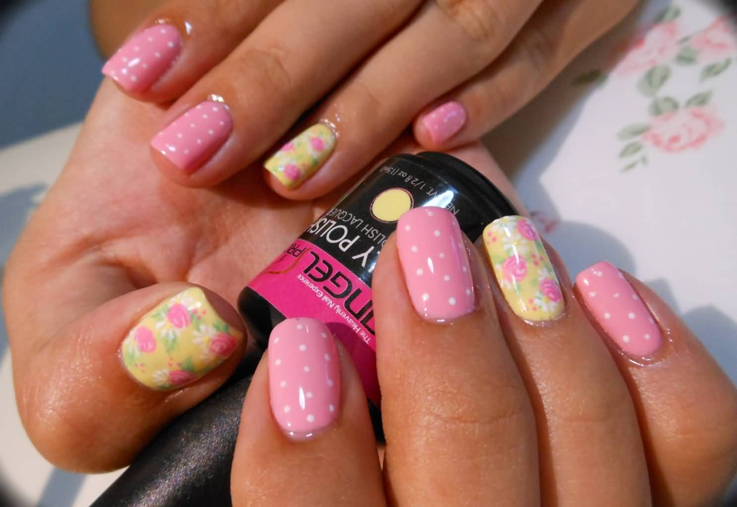 Light Pink And Yellow Floral Nail Art