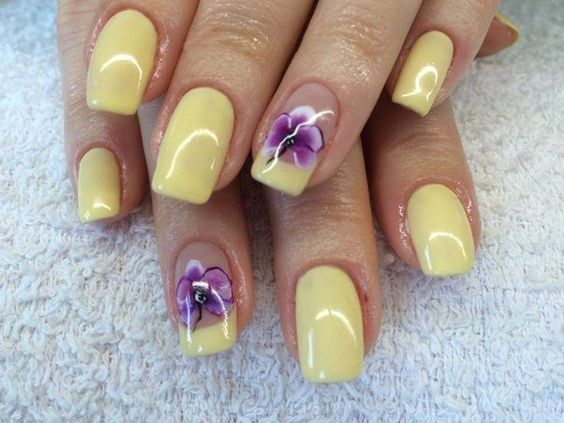 Light Yellow And Purple Flower Nail Art Design