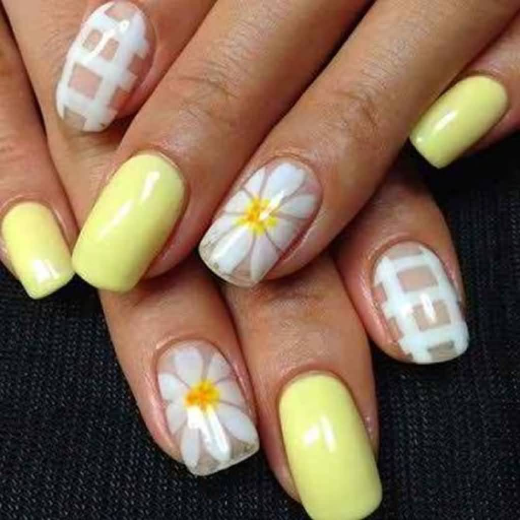 Light Yellow Nails With White Flowers Nail Art