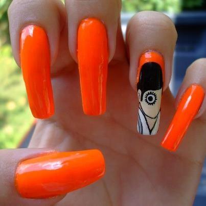 Long Orange Nail Art
