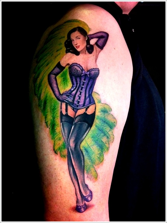 lovely pin up girl color tattoo on right half sleeve. Black Bedroom Furniture Sets. Home Design Ideas