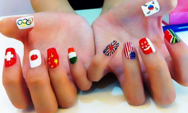 - Many Countries Flags Nail Art