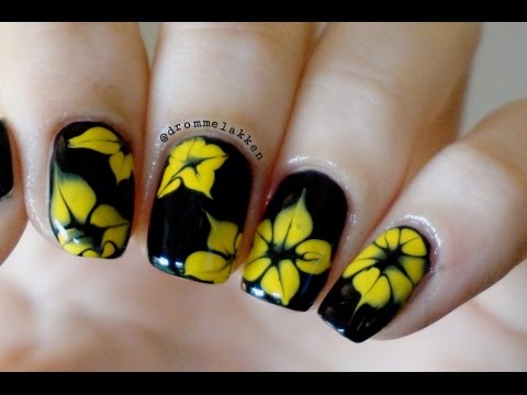 Marble Simple Yellow Flowers Nail Art With Tutorial Video