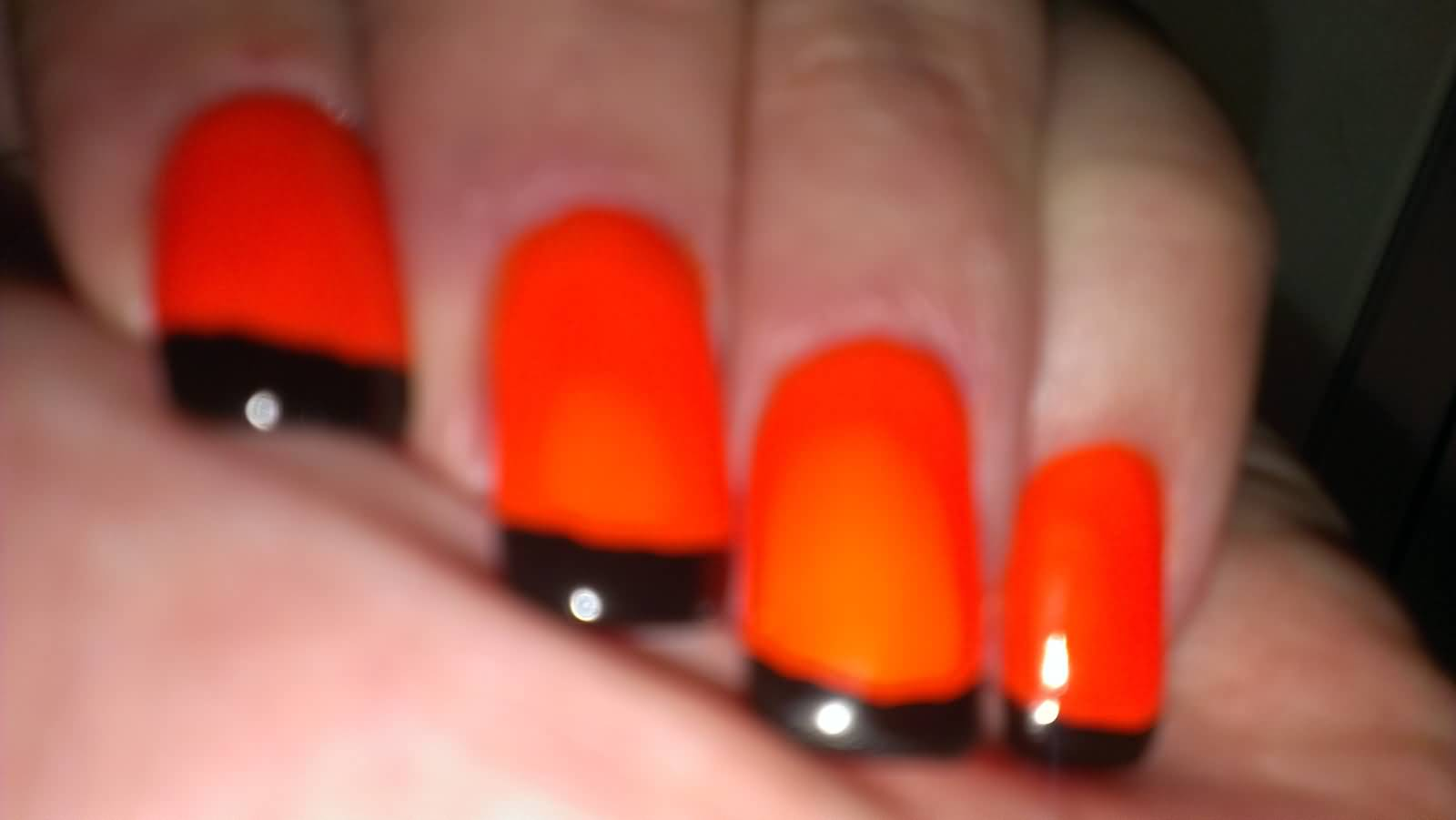 Neon Orange And Black Tip Nail Art
