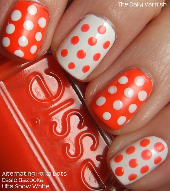 Neon Orange And White Polka Dots Nail Art