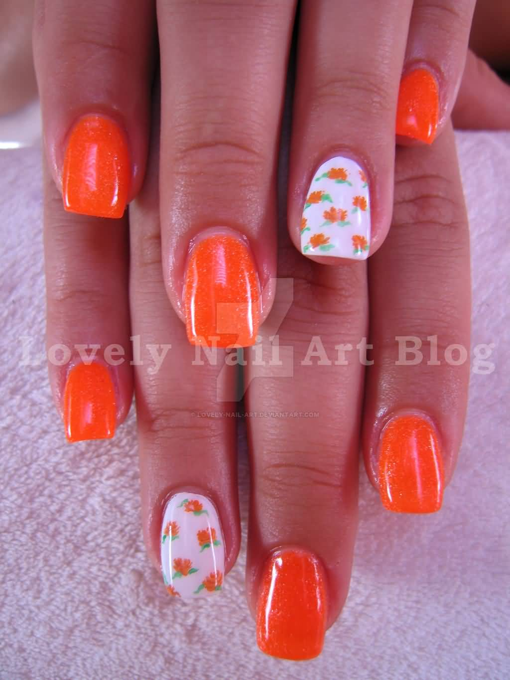 Neon Orange Flowers On White Nail Art Design