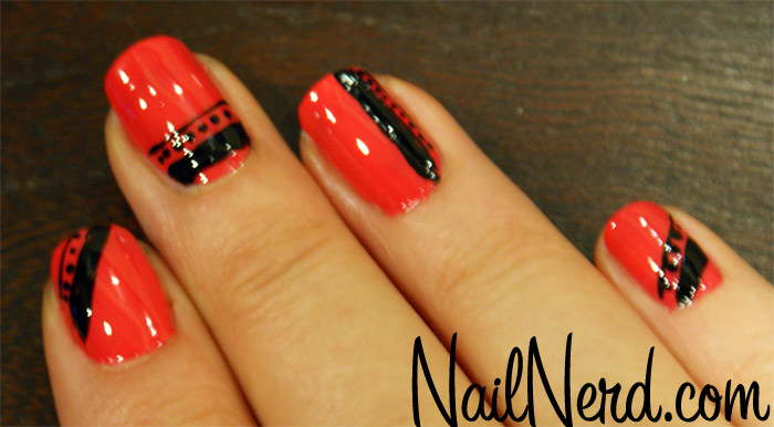 Neon Orange Glossy And Black Nail Art - 60 Stylish Orange And Black Nail Art Design Ideas