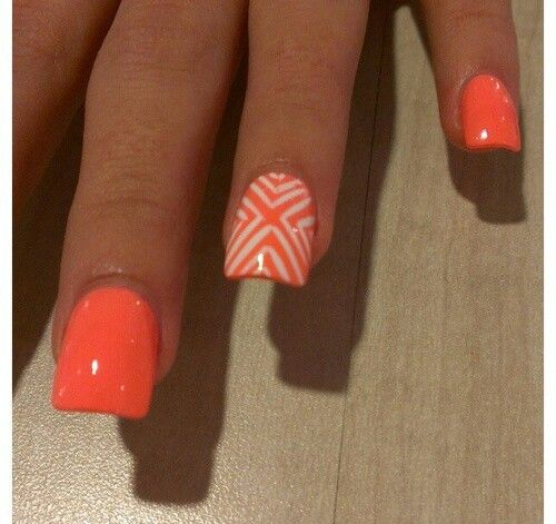 Neon Orange Lines Design Nail Art