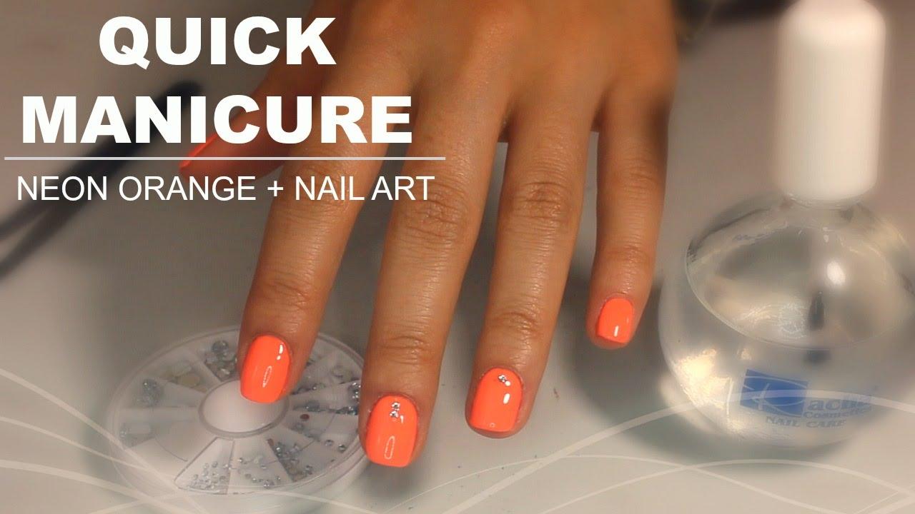Neon Orange Nails With Rhinestones Design Nail Art