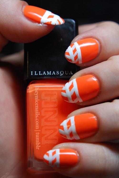 Neon Orange Nails With White Design Nail Art