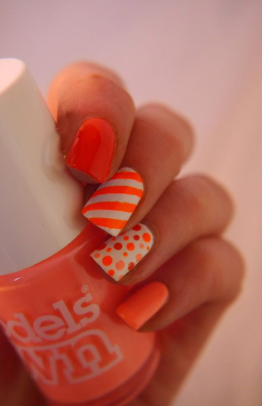 Neon Orange Stripes And Polka Dots Nail Art