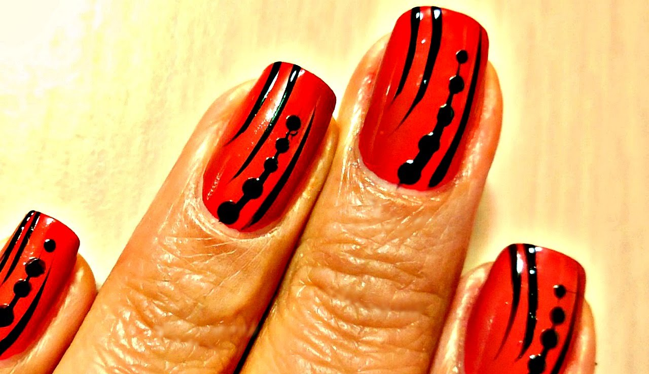 Neon Orange With Acrylic Black Dots Design Nail Art With Tutorial Video