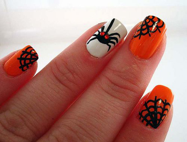 Neon Orange With Black Spider Web Nail Art - 60 Stylish Orange And Black Nail Art Design Ideas