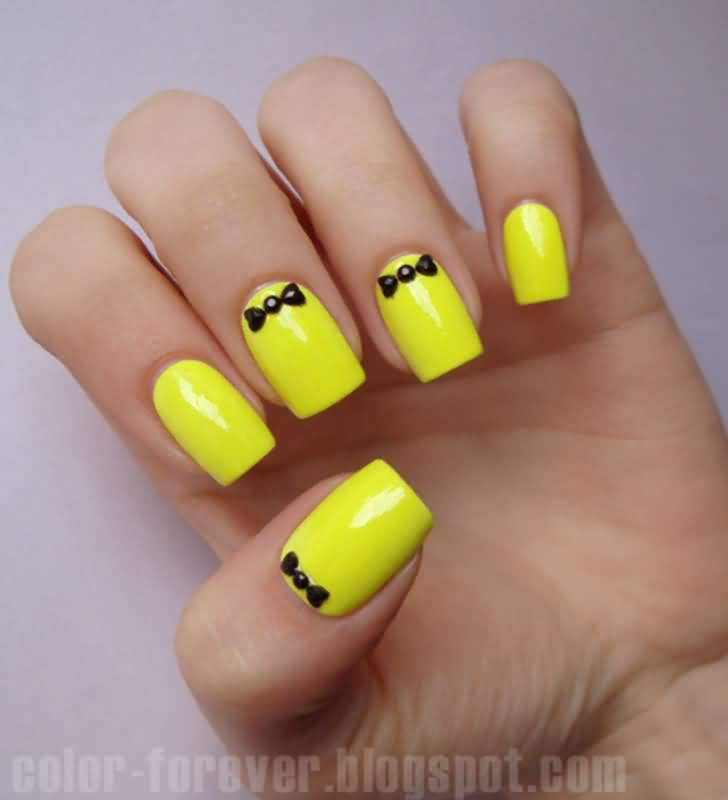 Neon Yellow And Black 3D Bow Nail Art