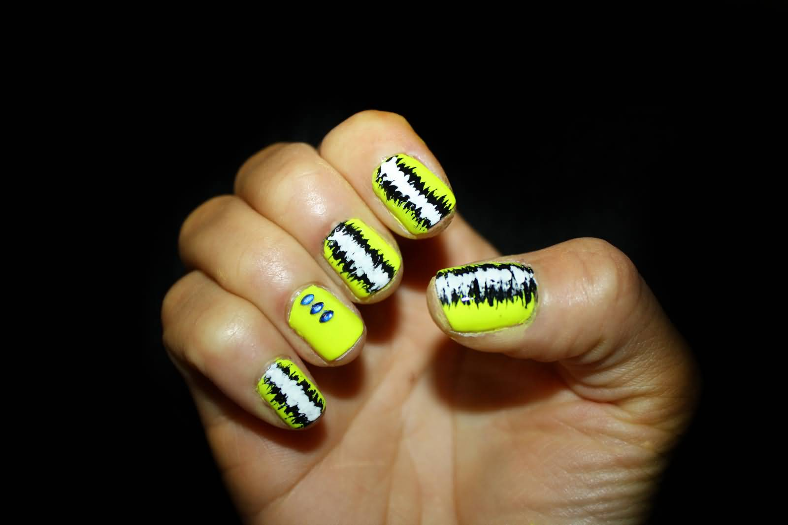 Neon Yellow And Black Design Nail Art