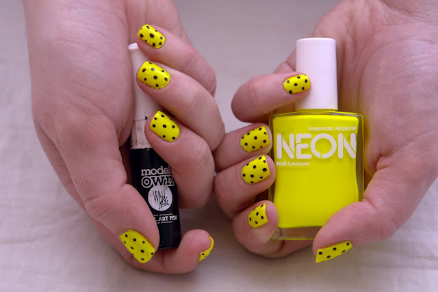 Neon Yellow And Black Dots Nail Art Design