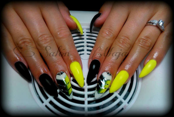 Neon Yellow And Black Nail Art Design Idea